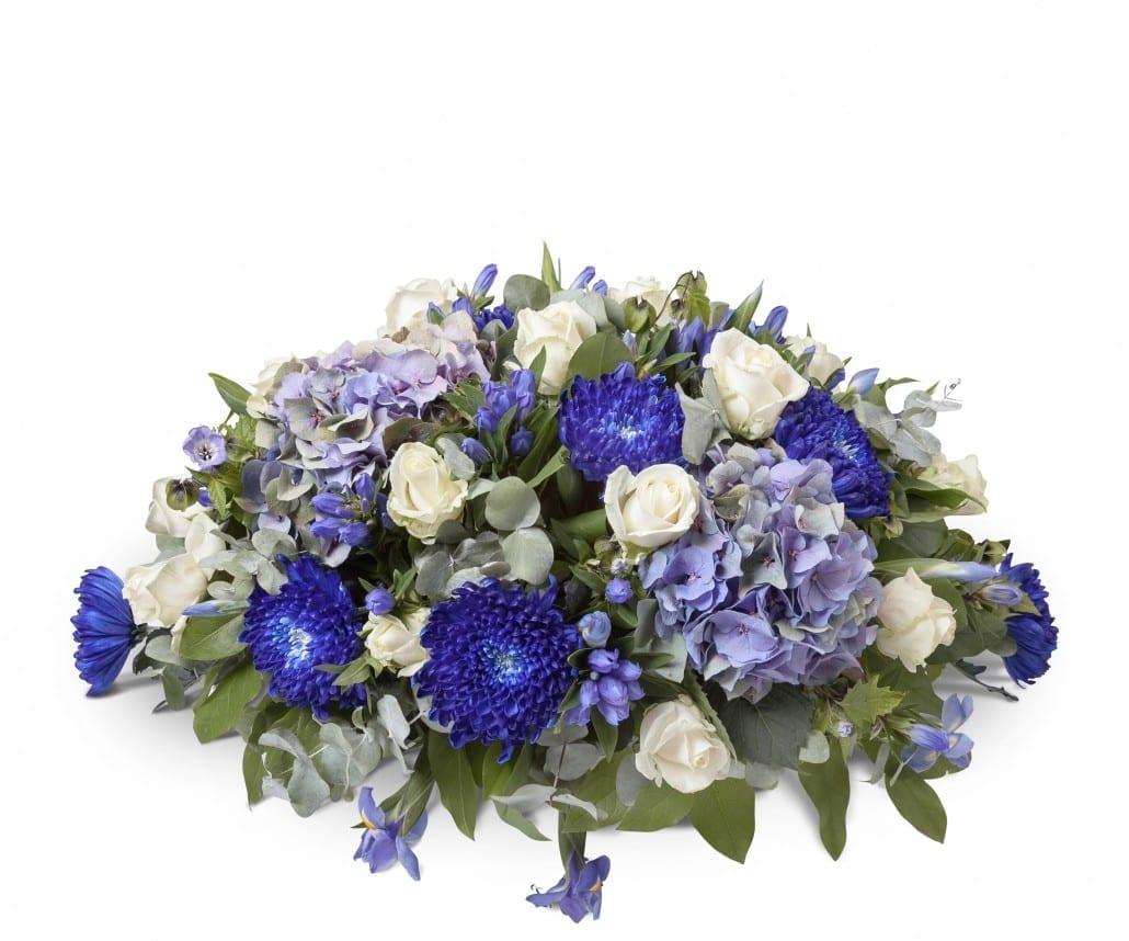 Rouwstuk ovaal wit en blauw
