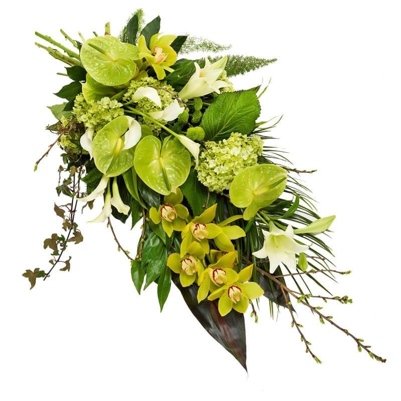 Luxe rouwboeket groen