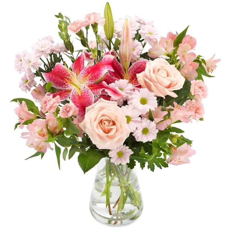 Moederdag vrolijk roze boeket