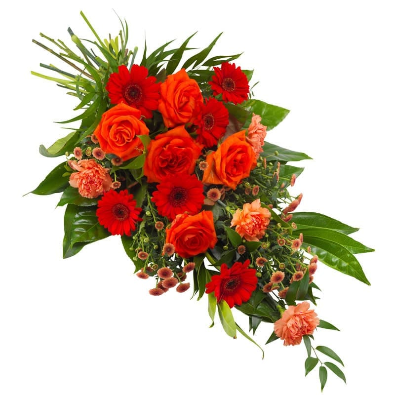 Rouwboeket rood en oranje