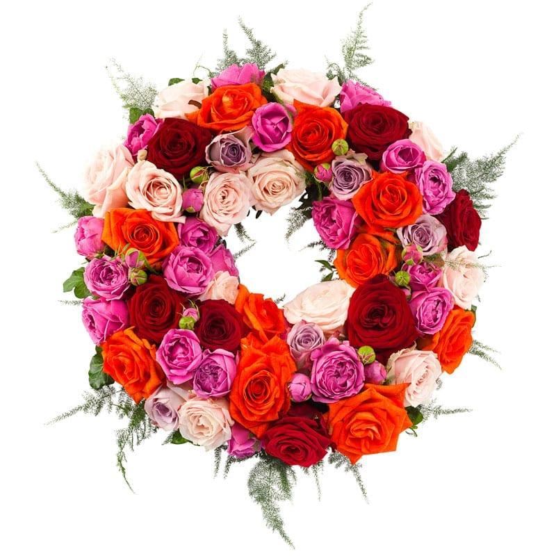 Rouwkrans gekleurde rozen