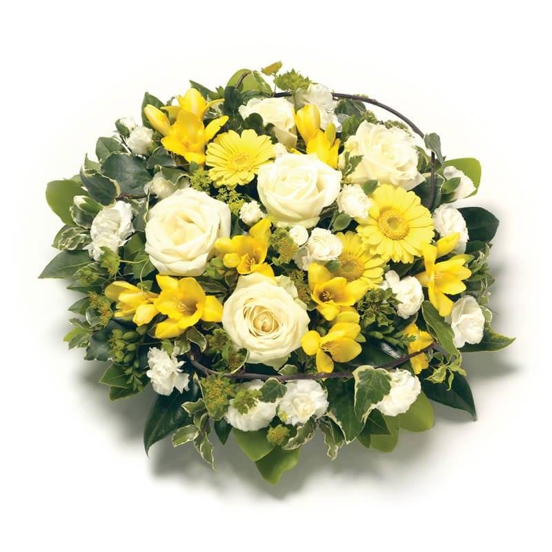 Wit geel rond rouwstuk
